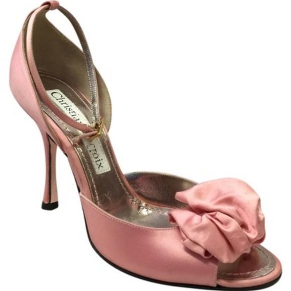 Christian Lacroix Pink Silk Open Toe